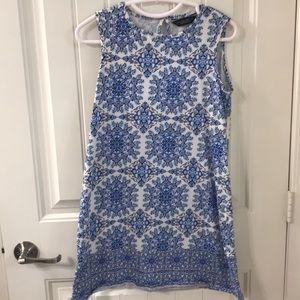 Blue medallion print mini dress